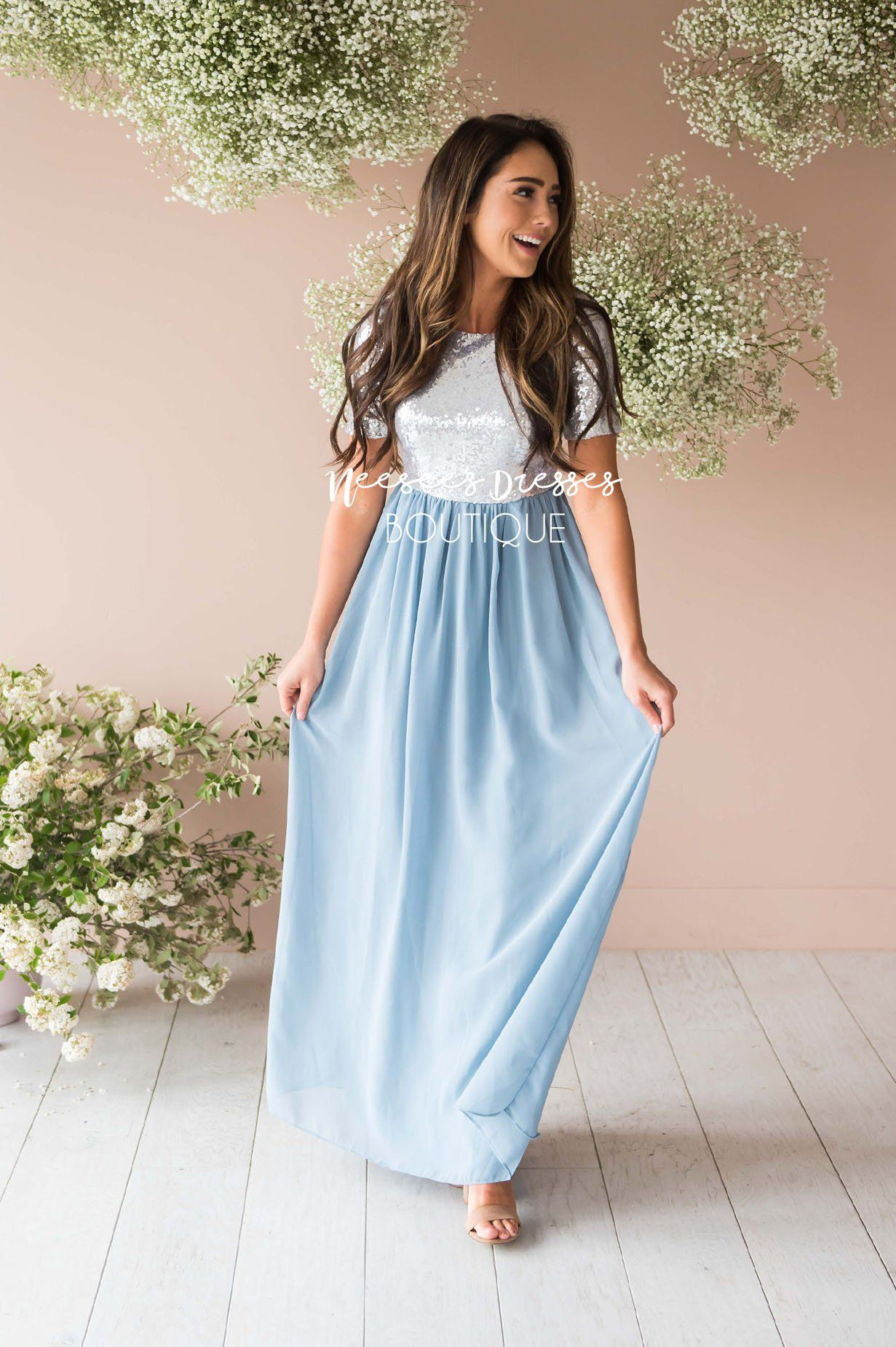 eb6081a8e8b11 Dusty Blue Chiffon Sequin Maxi Dress | Beautiful Modest Bridesmaids ...