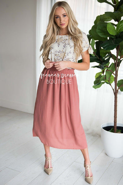 Dusty Rose Smock Waist Skirt Modest Dresses vendor-unknown