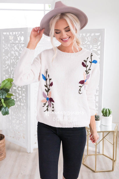 Colorful Embroidered Knit Sweater Tops vendor-unknown