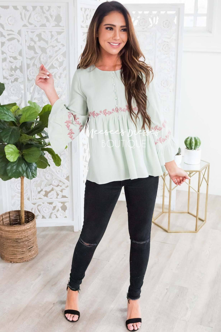 Sage Flounce Embroidered Blouse