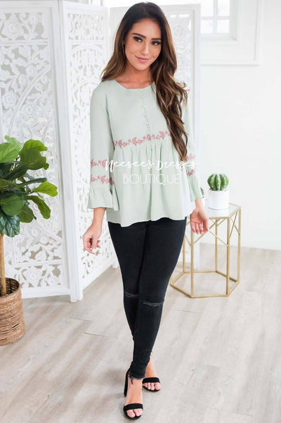Sage Flounce Embroidered Blouse Tops vendor-unknown