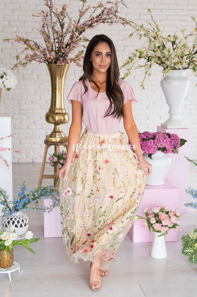 Heart Of Gold Floral Applique Tulle Skirt Modest Dresses vendor-unknown