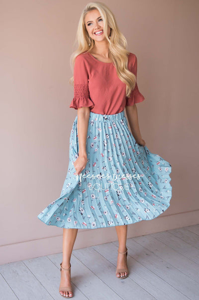Bloom With Grace Accordion Floral Skirt Modest Dresses vendor-unknown