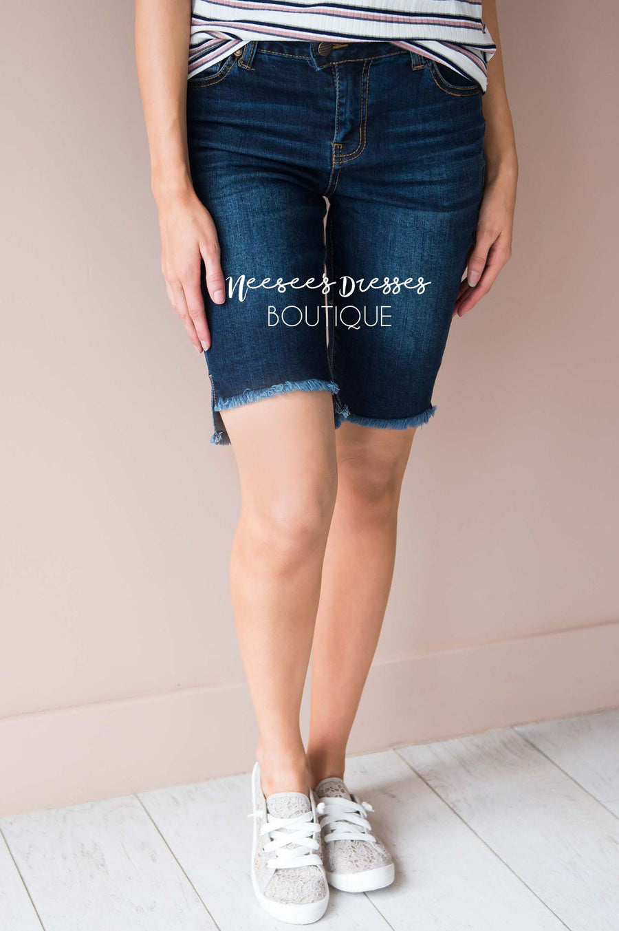 Zipper Front Bermuda Shorts