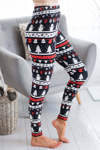 Frosty the Snowman Christmas Leggings Accessories & Shoes vendor-unknown