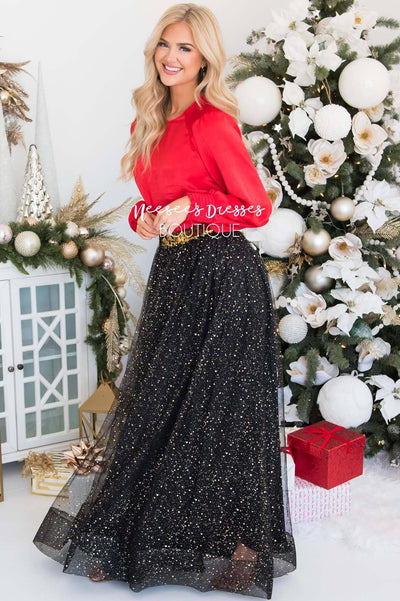 Black Gold Tulle Maxi Skirt Modest Dresses vendor-unknown