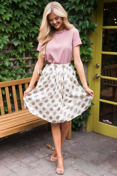 Cream Medallion Chiffon Skirt Skirts vendor-unknown