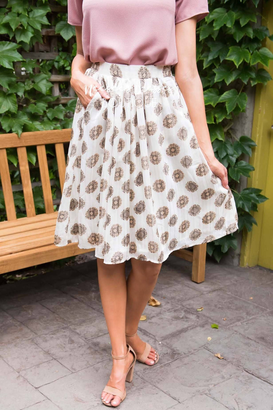 Cream Medallion Chiffon Skirt