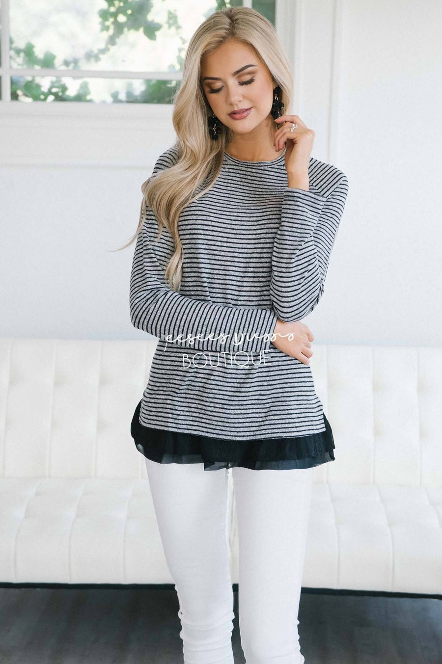 So Soft Lace Ruffle Hem Sweater