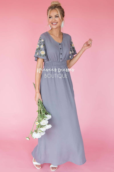 The Stephanie With Embroidered Sleeves Modest Dresses vendor-unknown