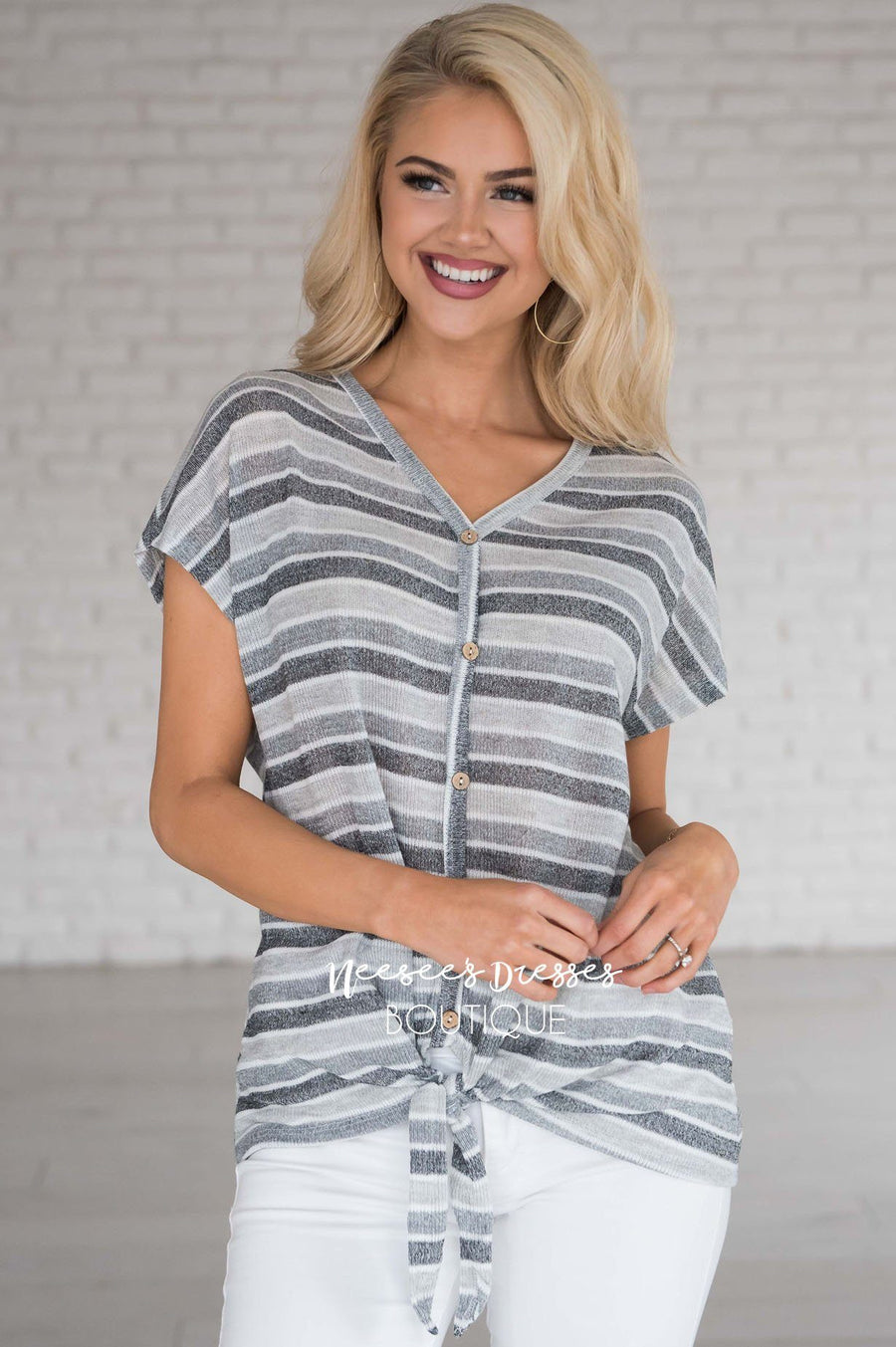 18416cb00e9 Take A Chance Stripe Tie Top Modest Dresses vendor-unknown