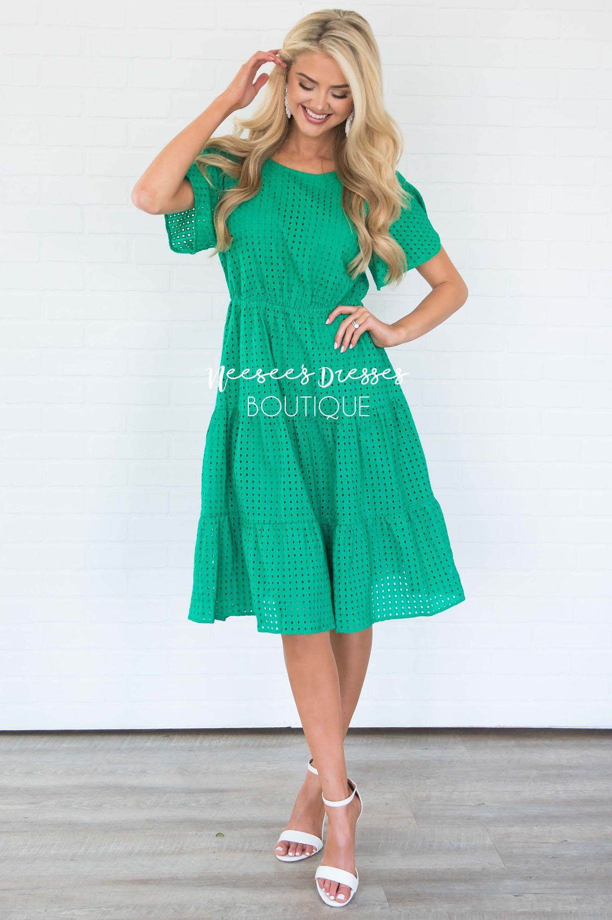 1774cd614a Kelly Green Eyelet Modest Church Dress | Best and Affordable Modest ...