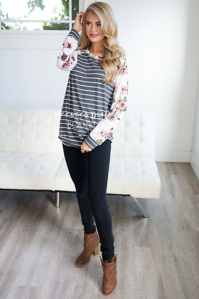 Floral Sleeve & Striped Top Tops vendor-unknown