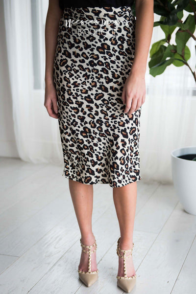Leopard Print Pencil Skirt Skirts vendor-unknown