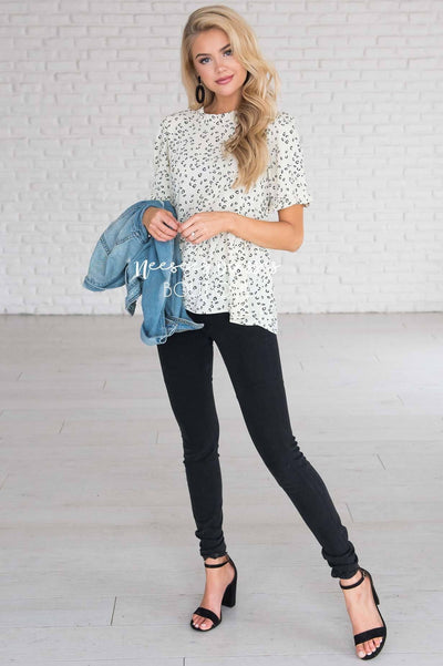 Stay Wild Leopard Print Peplum Blouse Modest Dresses vendor-unknown