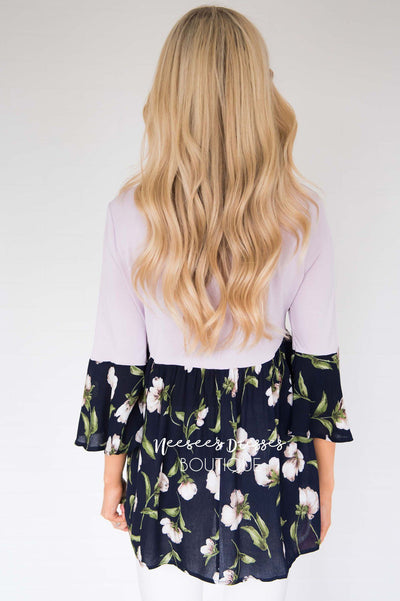 No Rain, No Flowers Floral Blouse Modest Dresses vendor-unknown