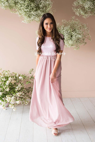 The Elsa in Dusty Pink Modest Dresses vendor-unknown