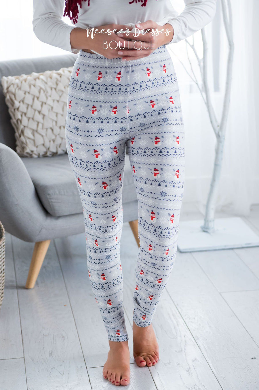 Mini Snowmen & Snowflakes Christmas Leggings Accessories & Shoes vendor-unknown