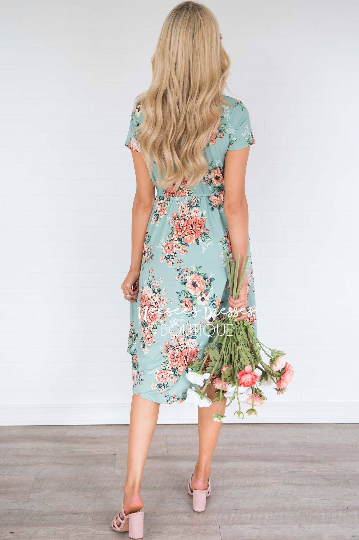 73f81de7f6ed Dusty Mint Floral Modest Dress | Best and Affordable Modest Boutique ...