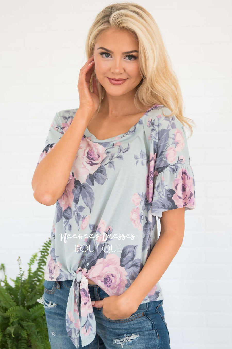 In Full Bloom Front Tie Top