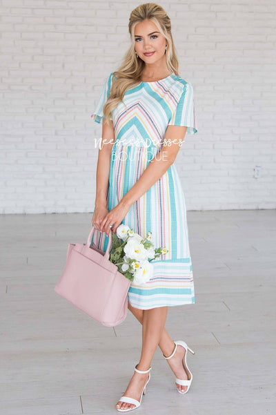 125f9860c65f Mint Striped Modest Church Dress | Best and Affordable Modest ...