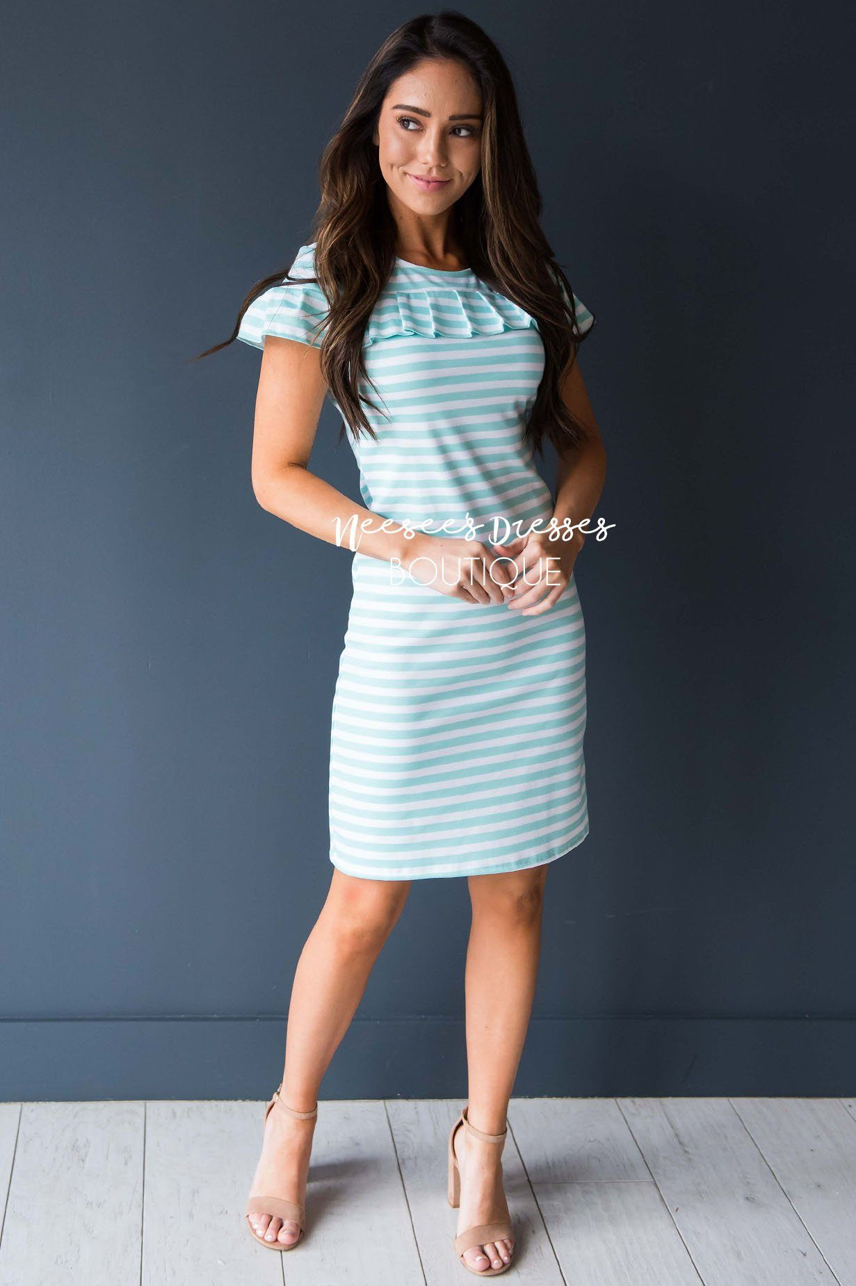 0935b7402c94 Petite Mint White Striped Modest Church Dress | Best and Affordable ...