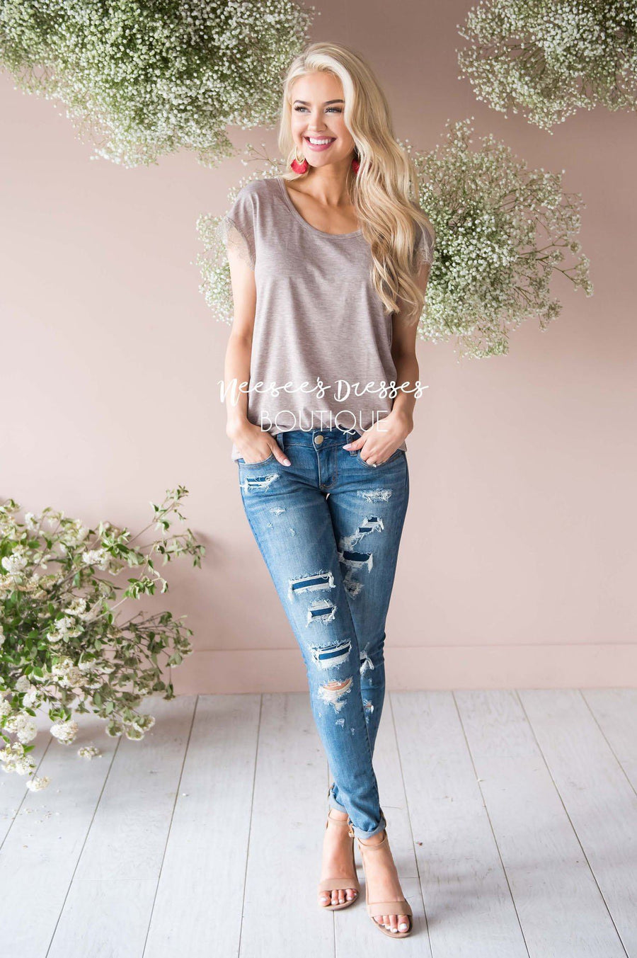 Be a Wildflower Lace Sleeve Top