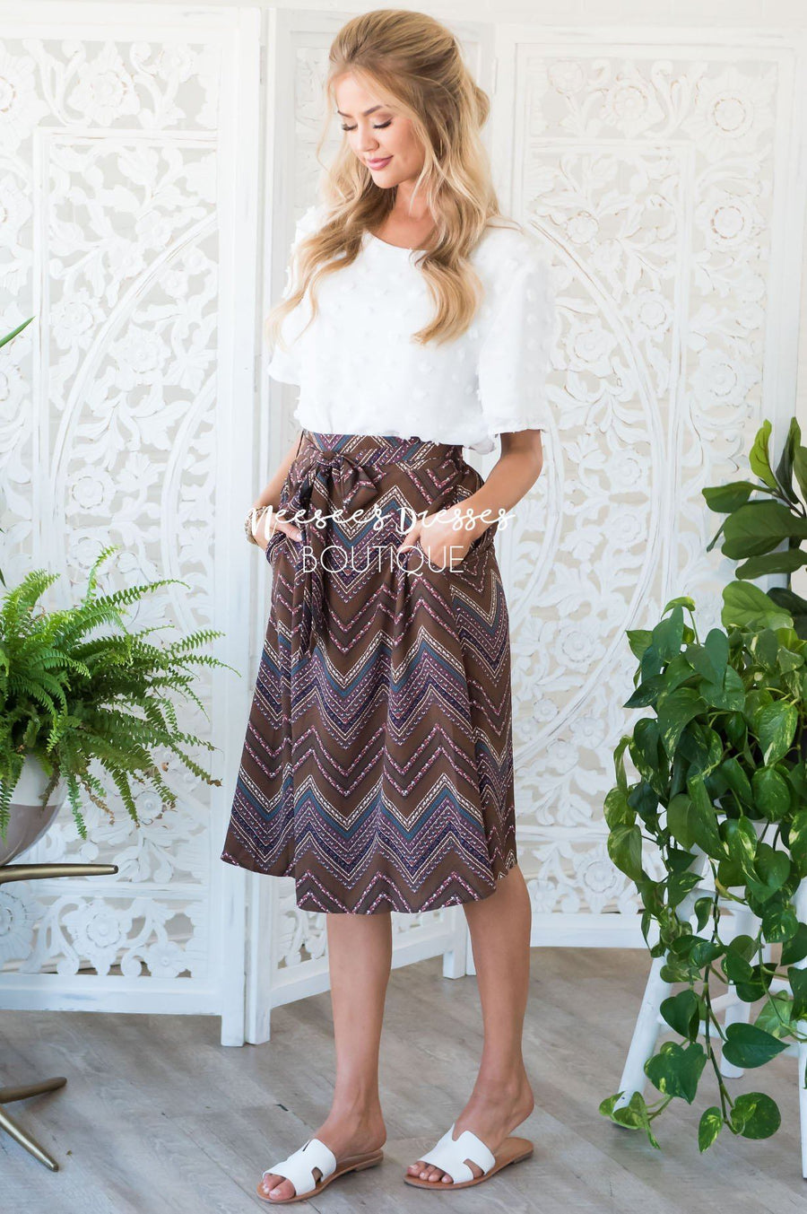 Chevron Print Self Tie Skirt Skirts vendor-unknown
