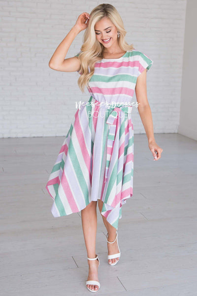 9513c8781ee8 Green/Lavender/Pink Striped Modest Dress | Best and Affordable ...