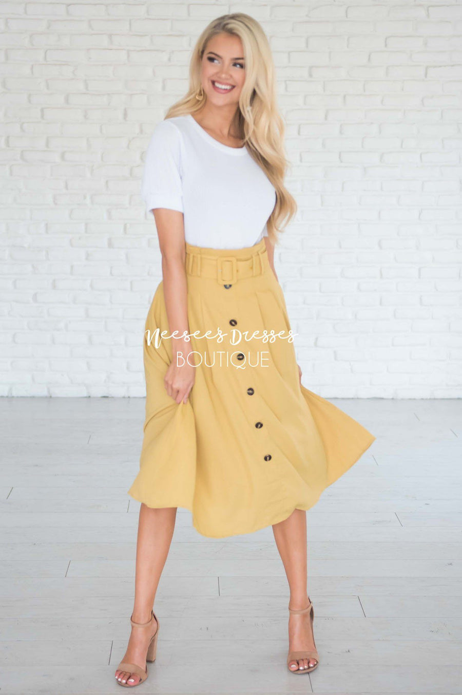 Walk with Me Button Front Skirt
