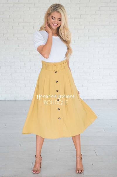 Walk with Me Button Front Skirt Modest Dresses vendor-unknown