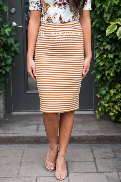 Today's Your Day Striped Pencil Skirt Skirts vendor-unknown