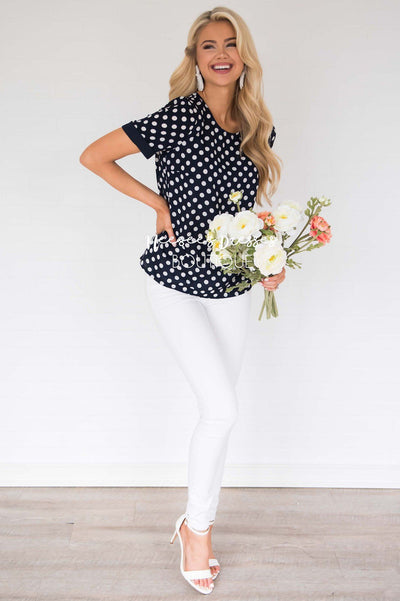 Little By Little Polka Dot Blouse Modest Dresses vendor-unknown