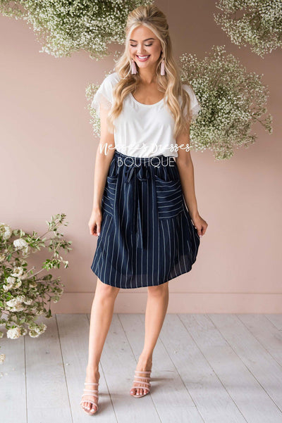 Pretty In Love Pinstripe Skirt Modest Dresses vendor-unknown