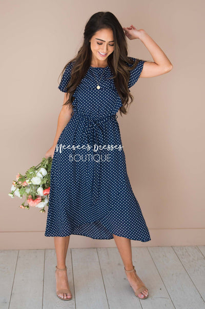 The Kynlei Polka Dotted Dress Modest Dresses vendor-unknown