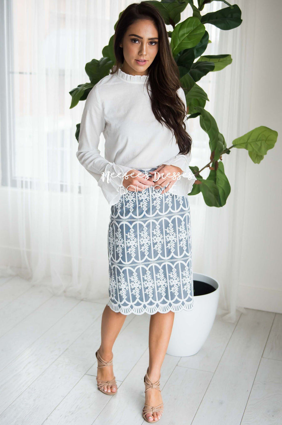 Lace Get Lost Pencil Skirt
