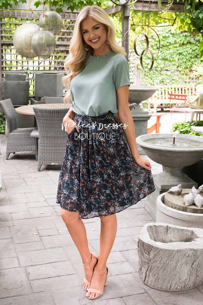 Navy Floral Chiffon Skirt Skirts vendor-unknown