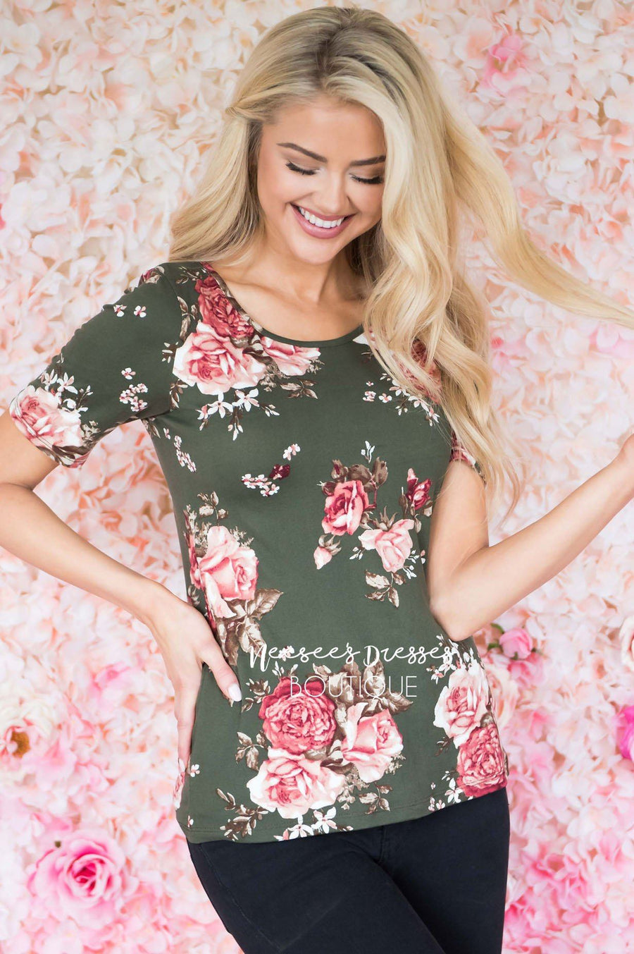 Make It Sweet Floral Scoop Neck Top