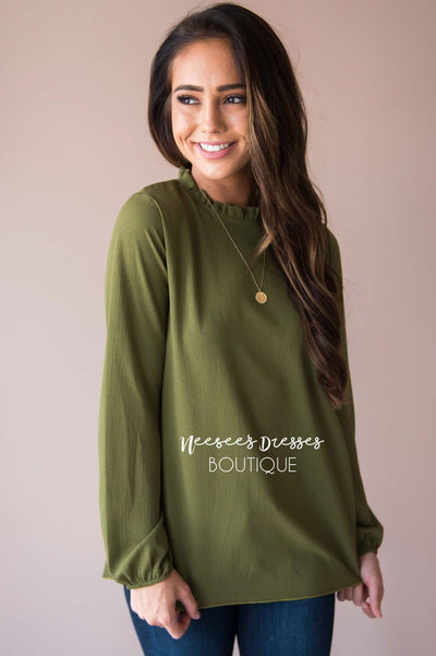 Free w/ $60 - see details - Made Of Magic Ruffled Mock Neck Top Modest Dresses vendor-unknown