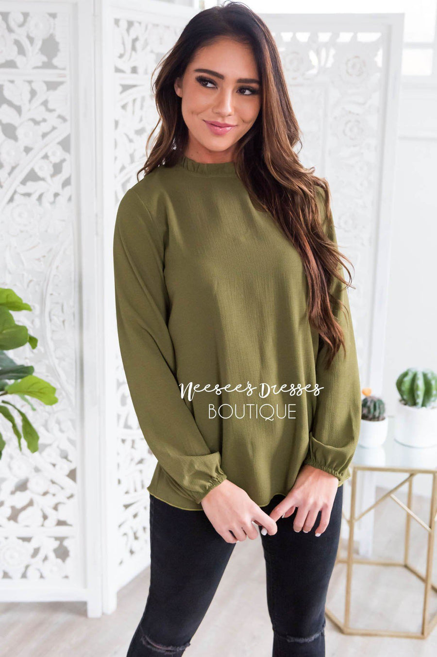 Free w/ $60 - see details - Made Of Magic Ruffled Mock Neck Top