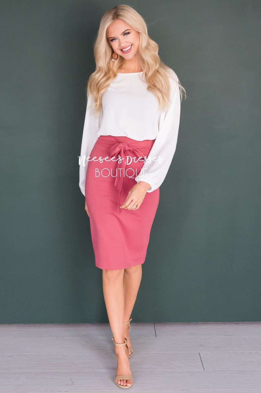Tie Waist Modest Pencil Skirt Skirts vendor-unknown