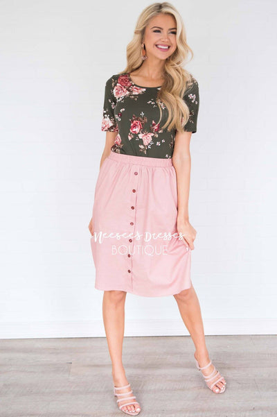 Pink Button Down Detail Skirt Skirts vendor-unknown