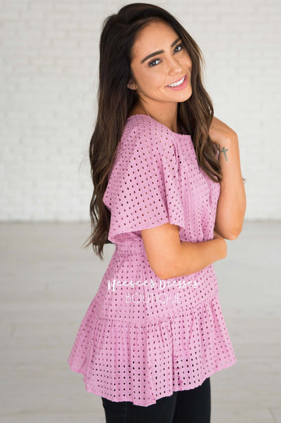 Escape The Ordinary Eyelet Top Modest Dresses vendor-unknown