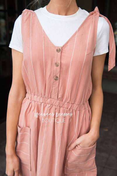 The Rowan Tie Detail Overall Dress Modest Dresses vendor-unknown