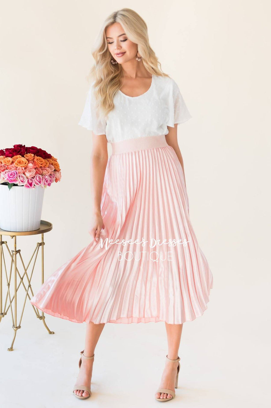 Hello Shimmer Pleat Skirt
