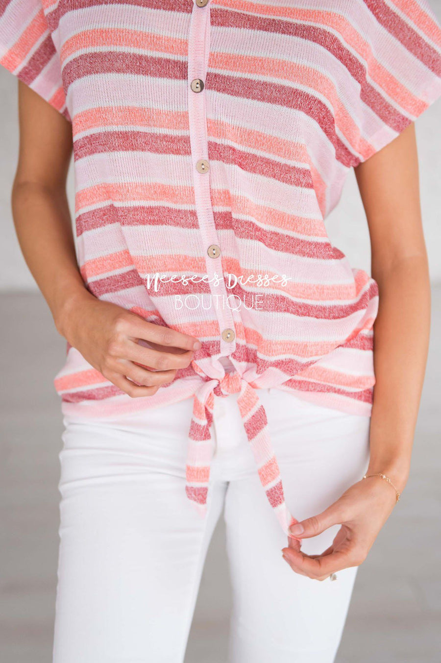 Take A Chance Stripe Tie Top