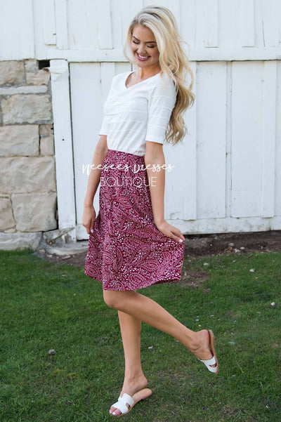 American Dreamer Paisley Print Skirt Modest Dresses vendor-unknown