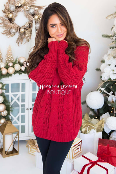 Blessed Heart Cable Knit Sweater Modest Dresses vendor-unknown