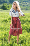 Hello Summer Striped Tie Waist Skirt Modest Dresses vendor-unknown