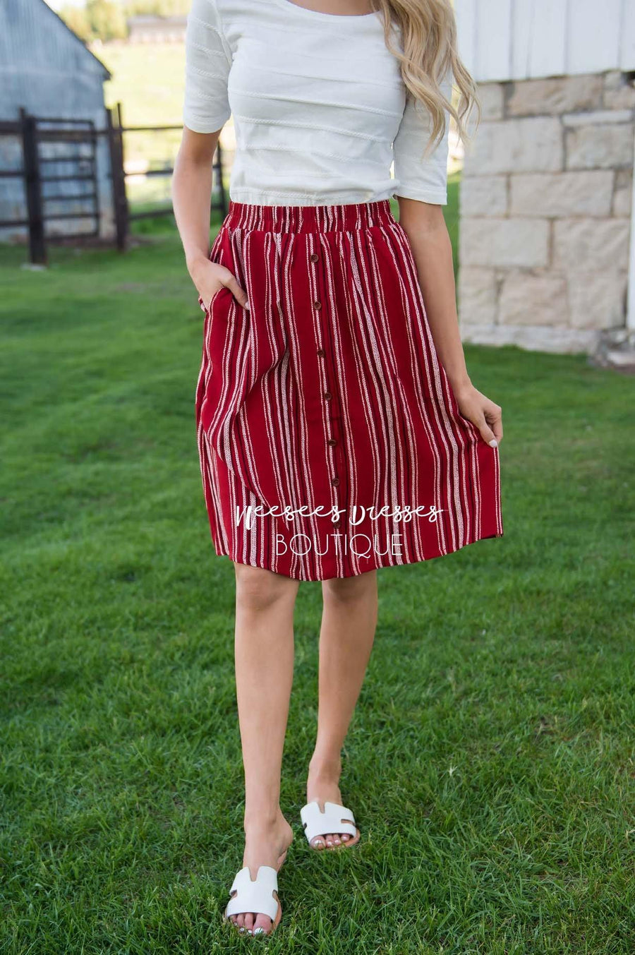 Burst Of Joy Striped Button Skirt